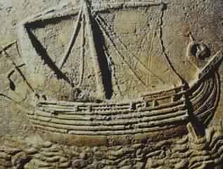 石棺に描かれていた、フェニキア人の船